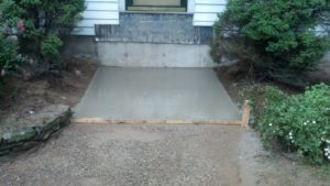 Concrete base and lead flashing