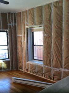 New framed walls with insulation